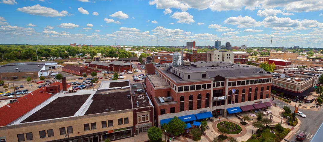 A high rise view of downtown Champaign